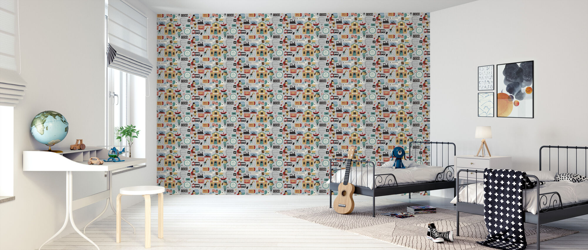 Traveling Animals - Grey - Wallpaper - Kids Room