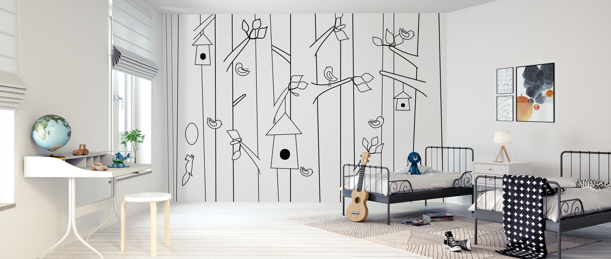 Bird Forest - Black & White - Wallpaper - Kids Room
