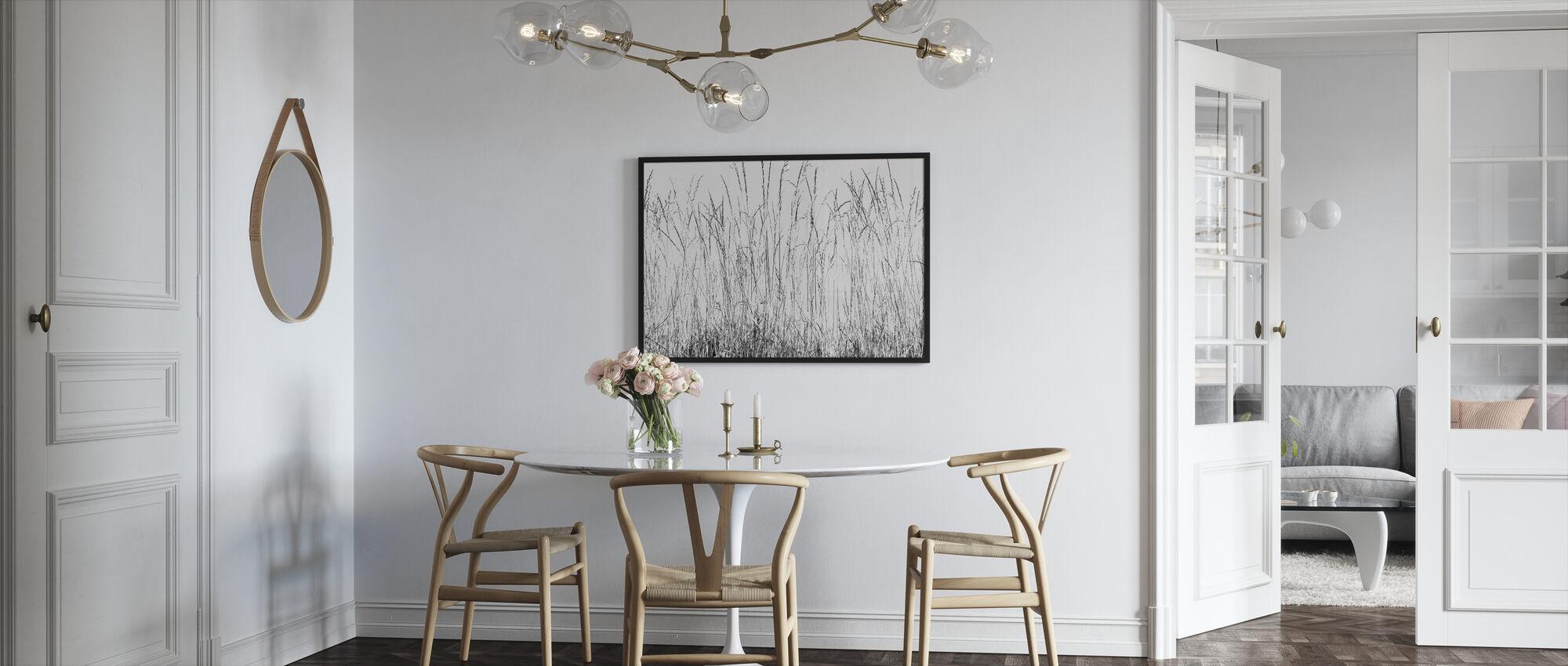 Gras messen bw - Ingelijste print - Keuken