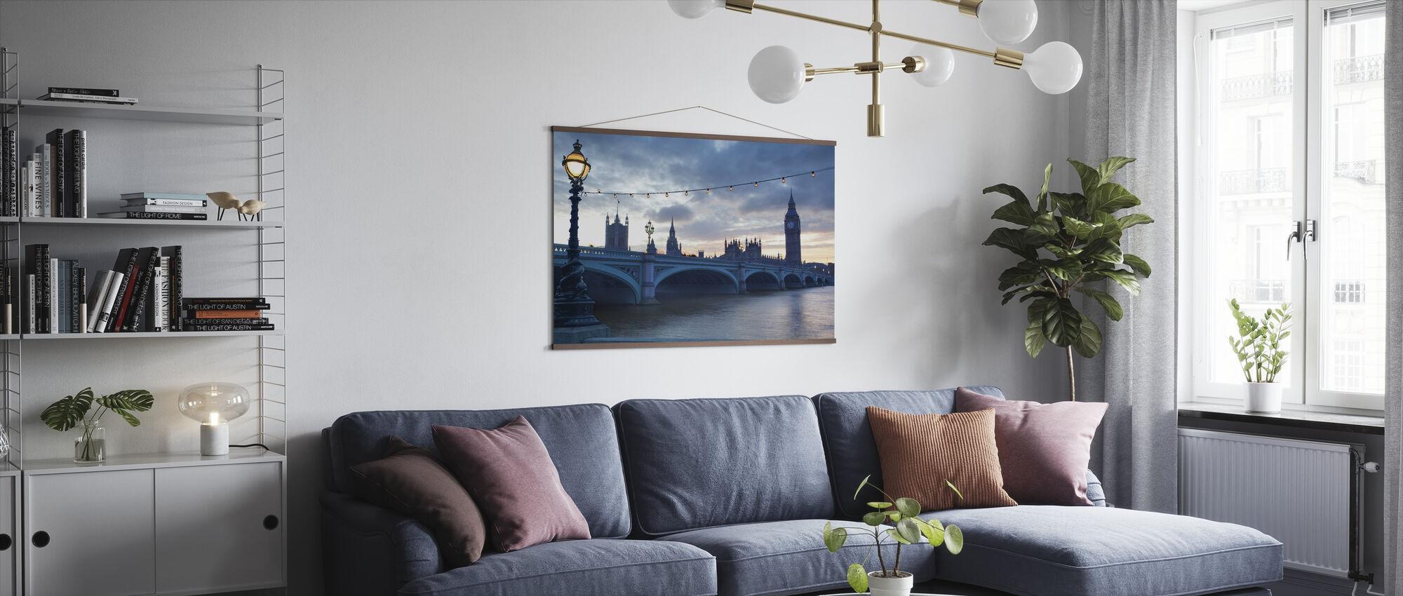 Westminster Bridge bij schemering - Poster - Woonkamer