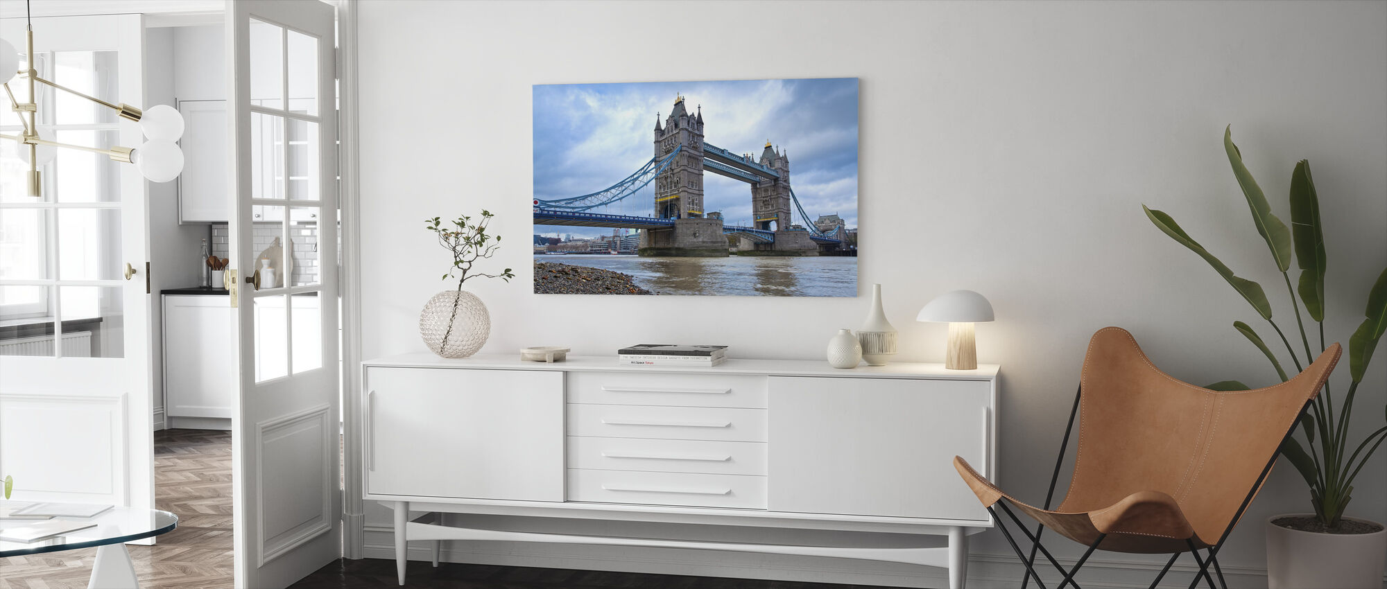 Looking Up at Tower Bridge - Canvas print - Living Room
