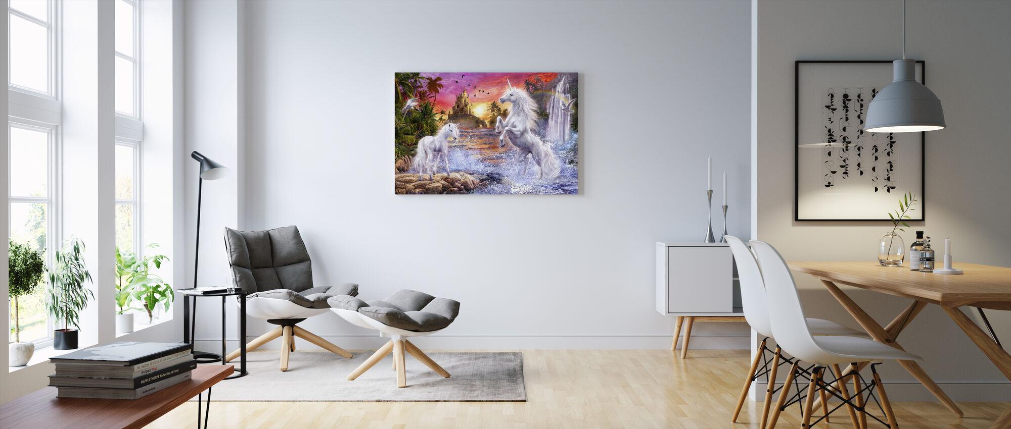 Unicorn Waterfall Sunset - Canvas print - Living Room