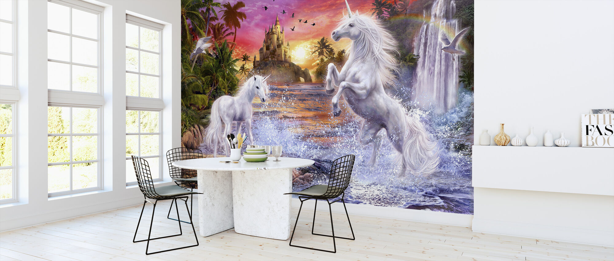 Unicorn Waterfall Sunset - Wallpaper - Kitchen