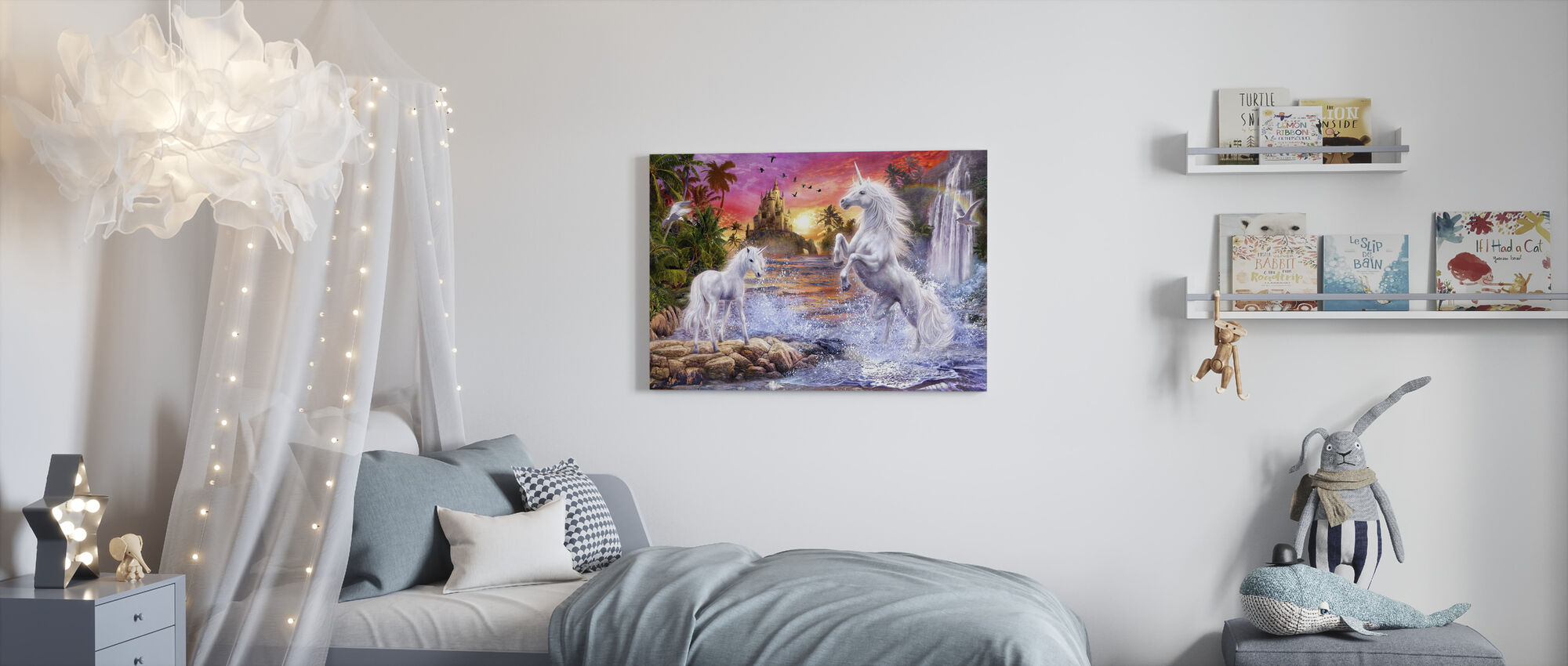 Unicorn Waterfall Sunset - Canvas print - Kids Room