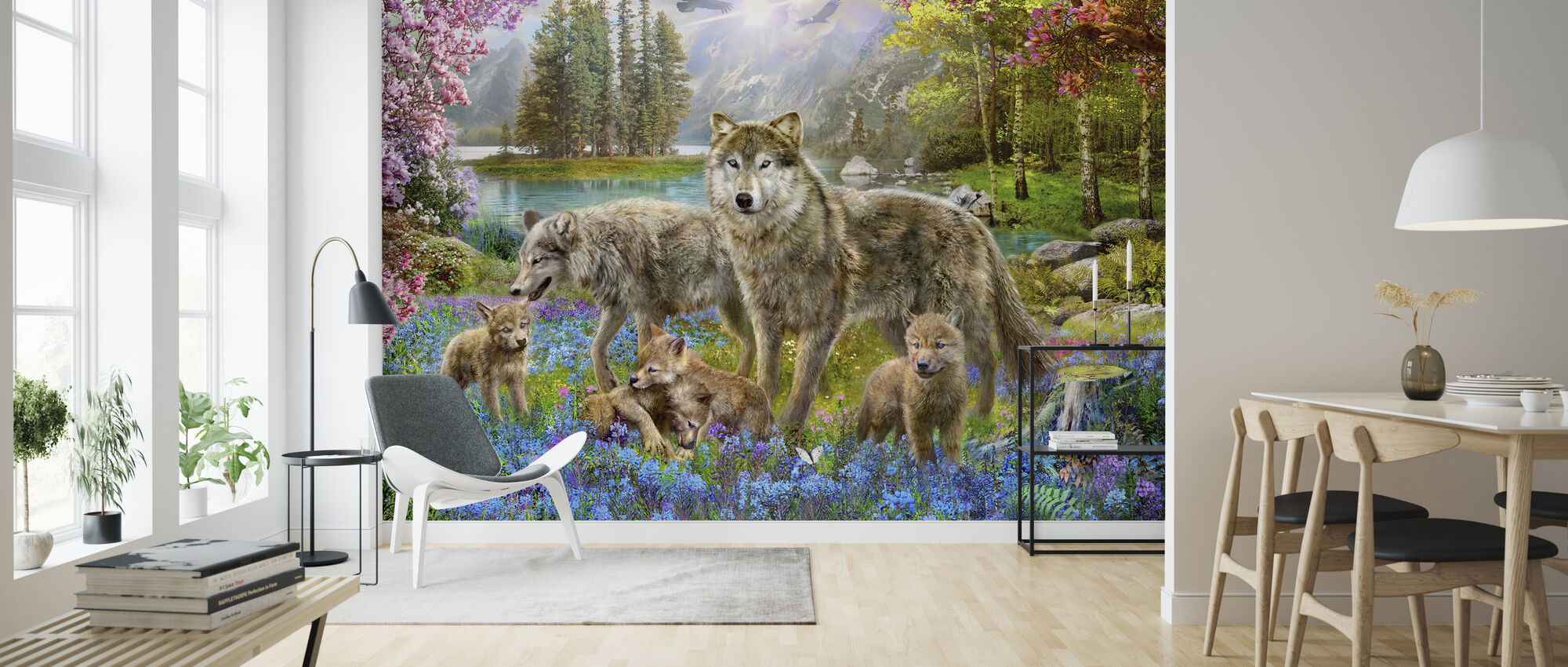 Spring Wolf Family - Wallpaper - Living Room