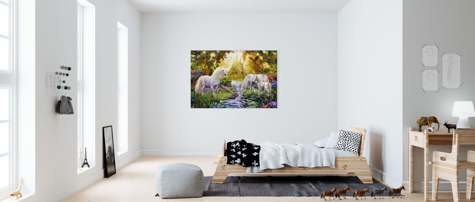 Het Kasteel Eenhoorn Tuin - Canvas print - Kinderkamer