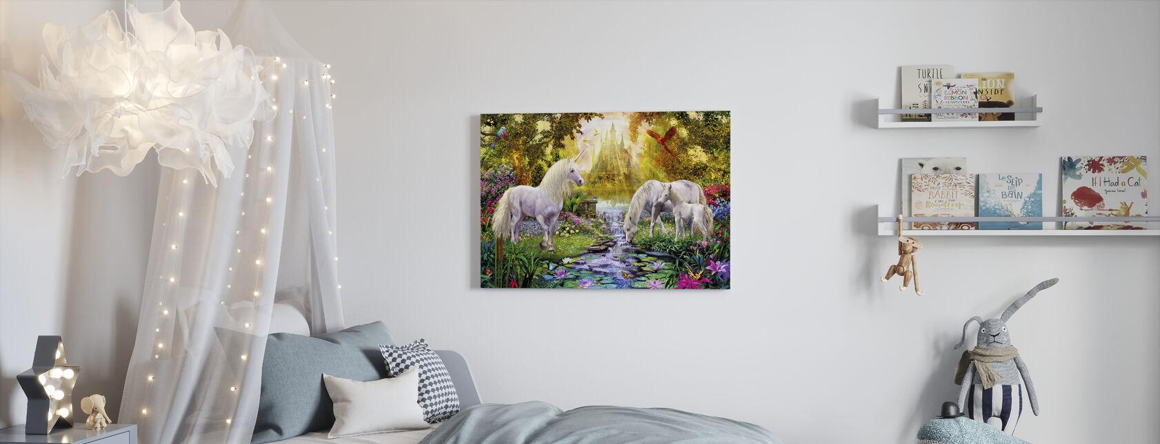Le Château Licorne Jardin - Impression sur toile - Chambre des enfants