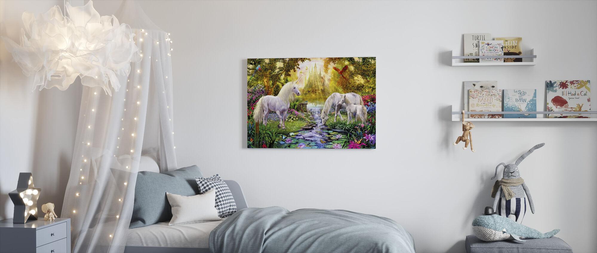 Slottet Unicorn Garden - Canvastavla - Barnrum