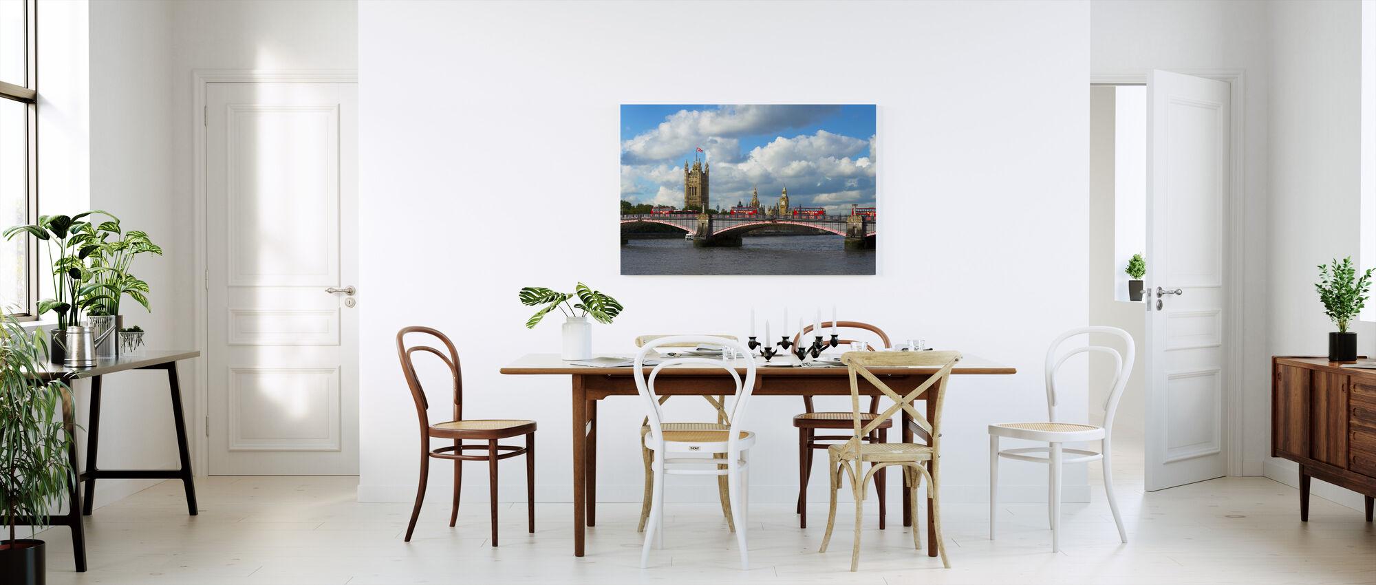 Autobusy na Lambeth Bridge - Obraz na płótnie - Kuchnia