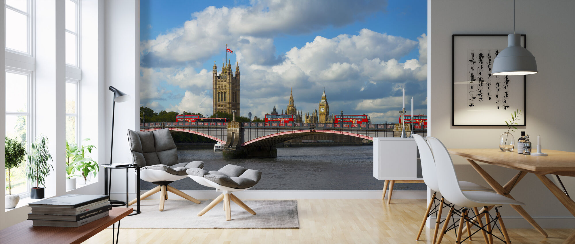 Buses on Lambeth Bridge - Wallpaper - Living Room