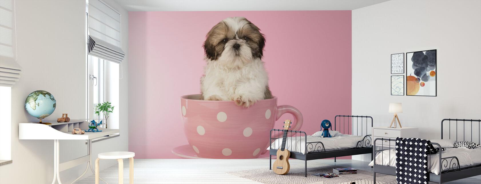 Hond in Beker - Behang - Kinderkamer