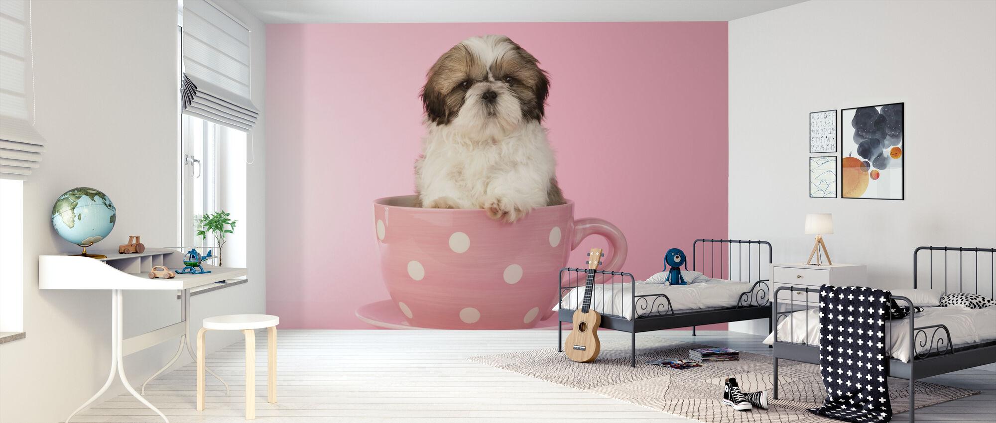 Hund i Cup - Tapet - Børneværelse