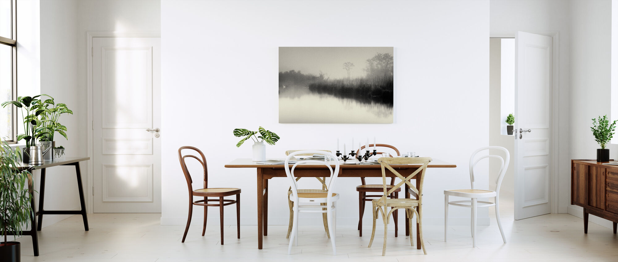 Jezioro i drzewa - Obraz na płótnie - Kuchnia