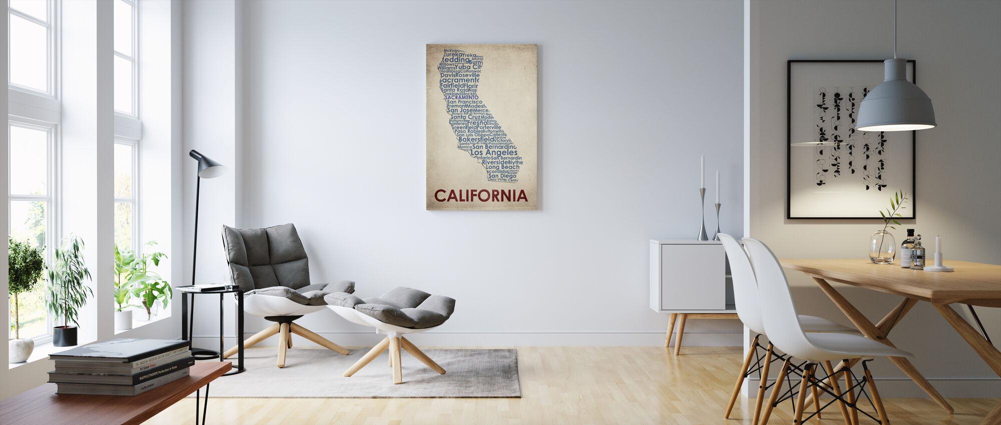 Californien kort - Billede på lærred - Stue