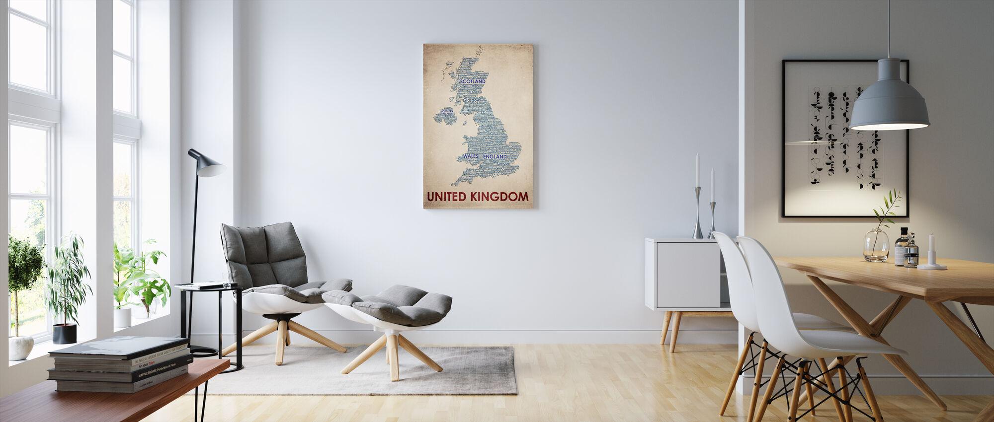 Storbritannien Kort - Billede på lærred - Stue