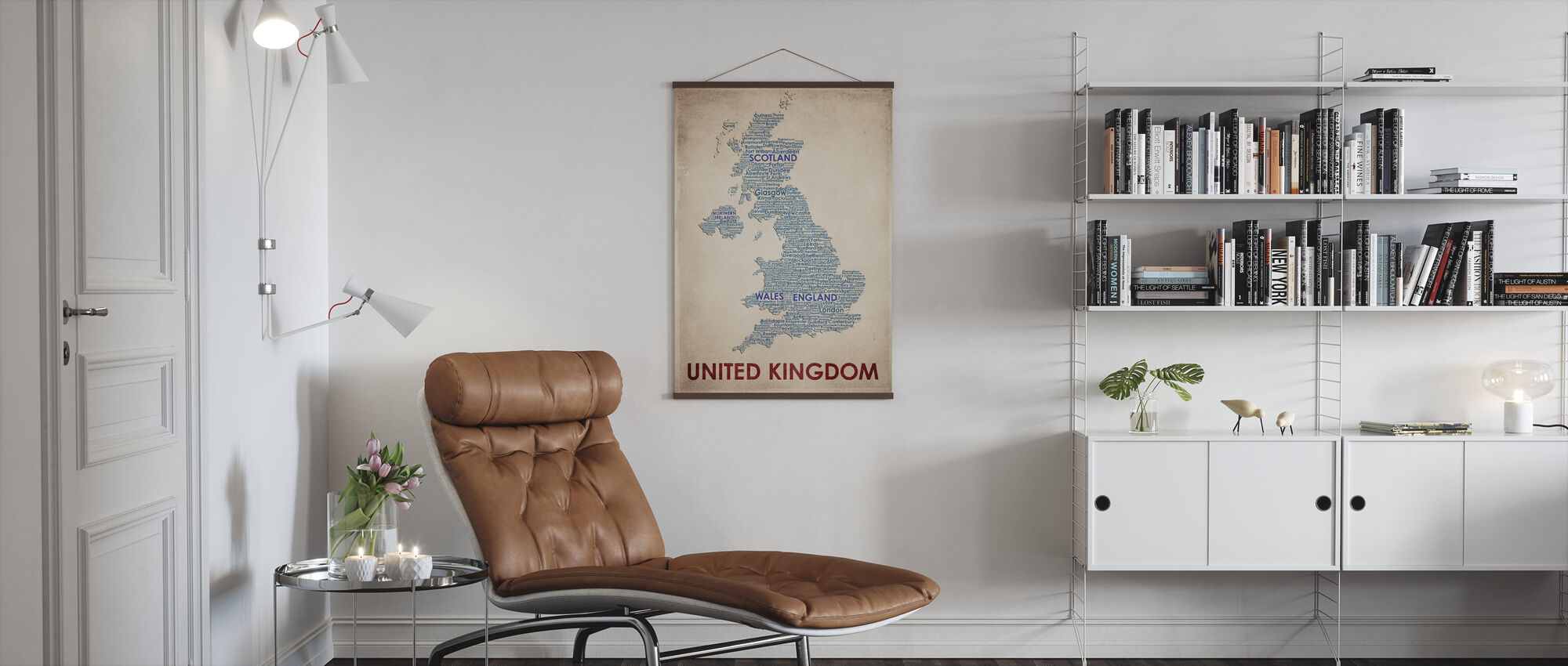 Yhdistynyt kuningaskunta Kartta - Juliste - Olohuone