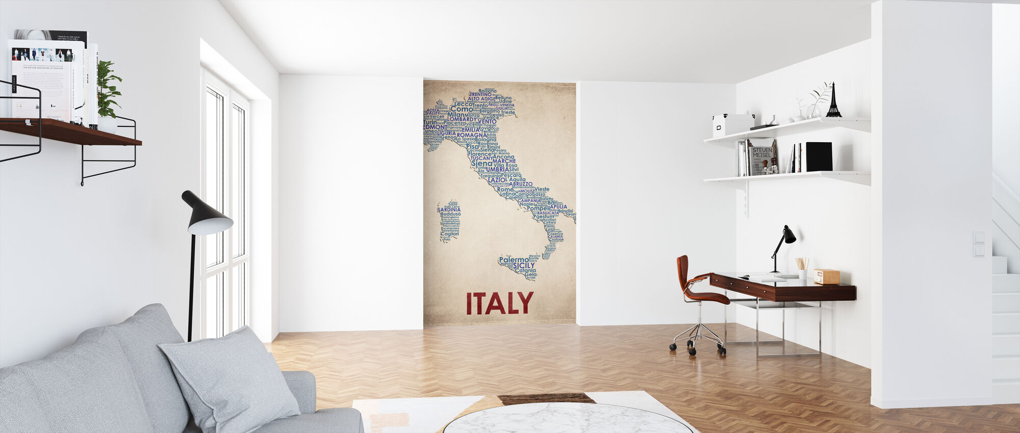 Italy Map - Wallpaper - Office