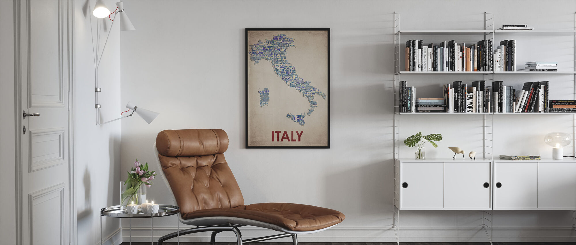 Italia Kartta - Kehystetty kuva - Olohuone