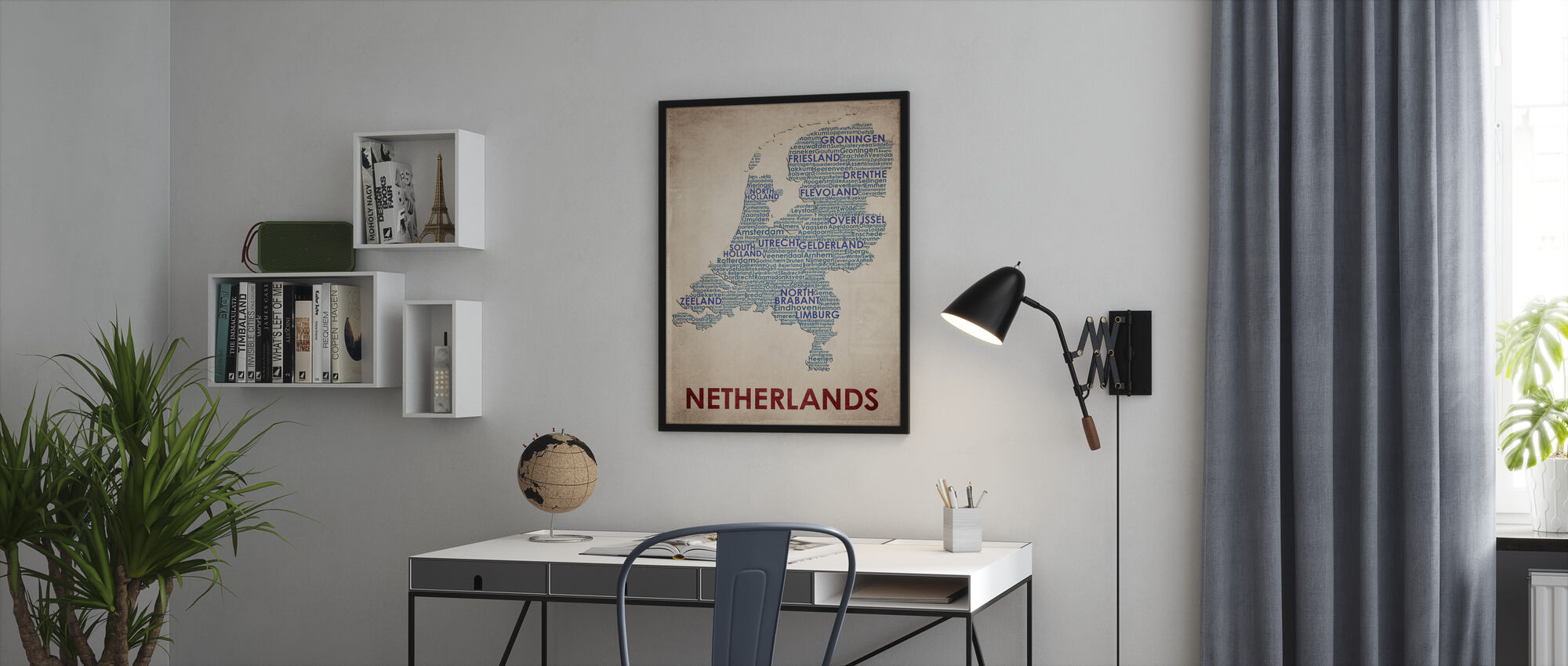 The Netherlands Map - Framed print - Office