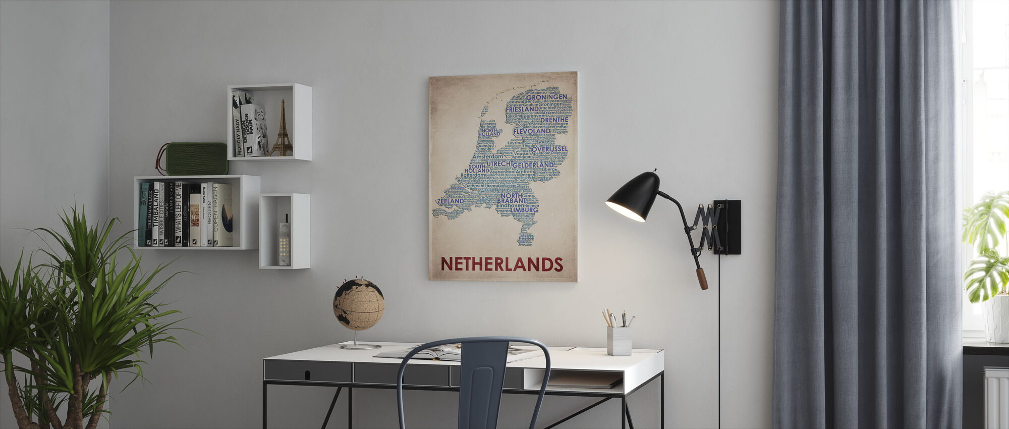 The Netherlands Map - Canvas print - Office