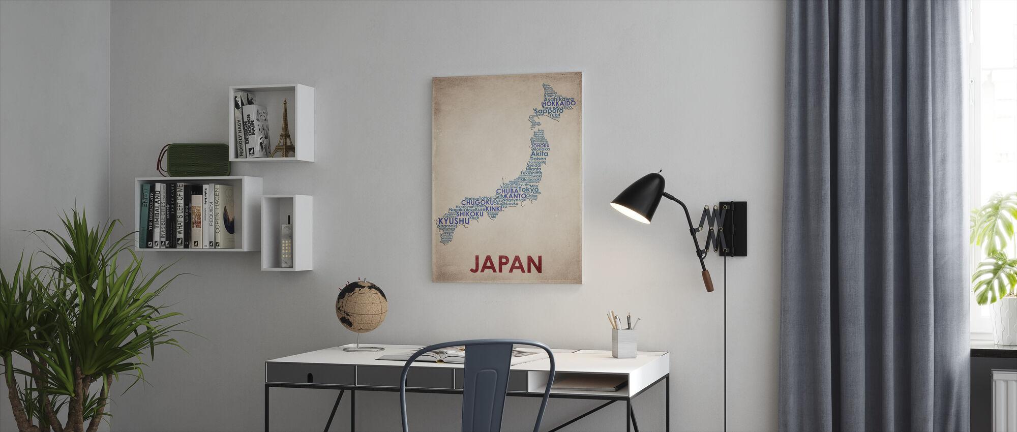 Japon Carte - Impression sur toile - Bureau