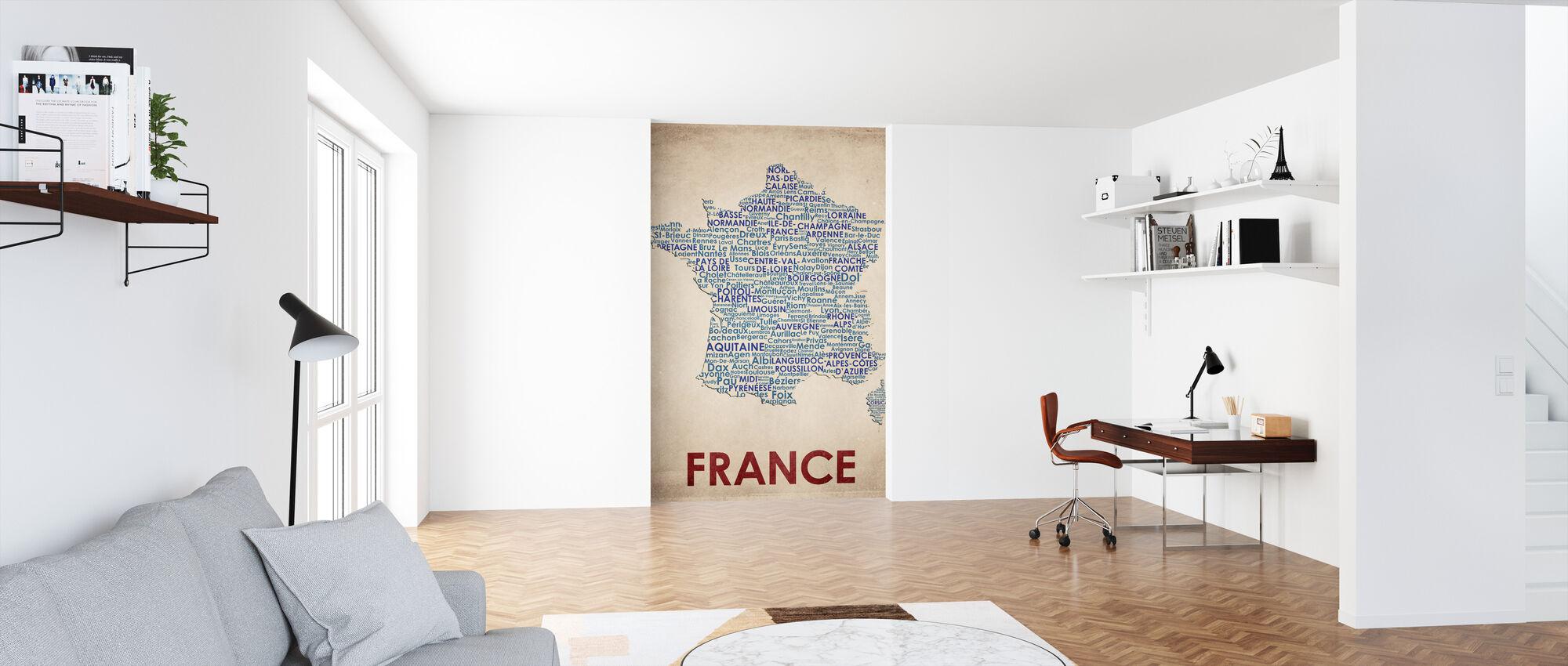 Frankrijk Kaart - Behang - Kantoor