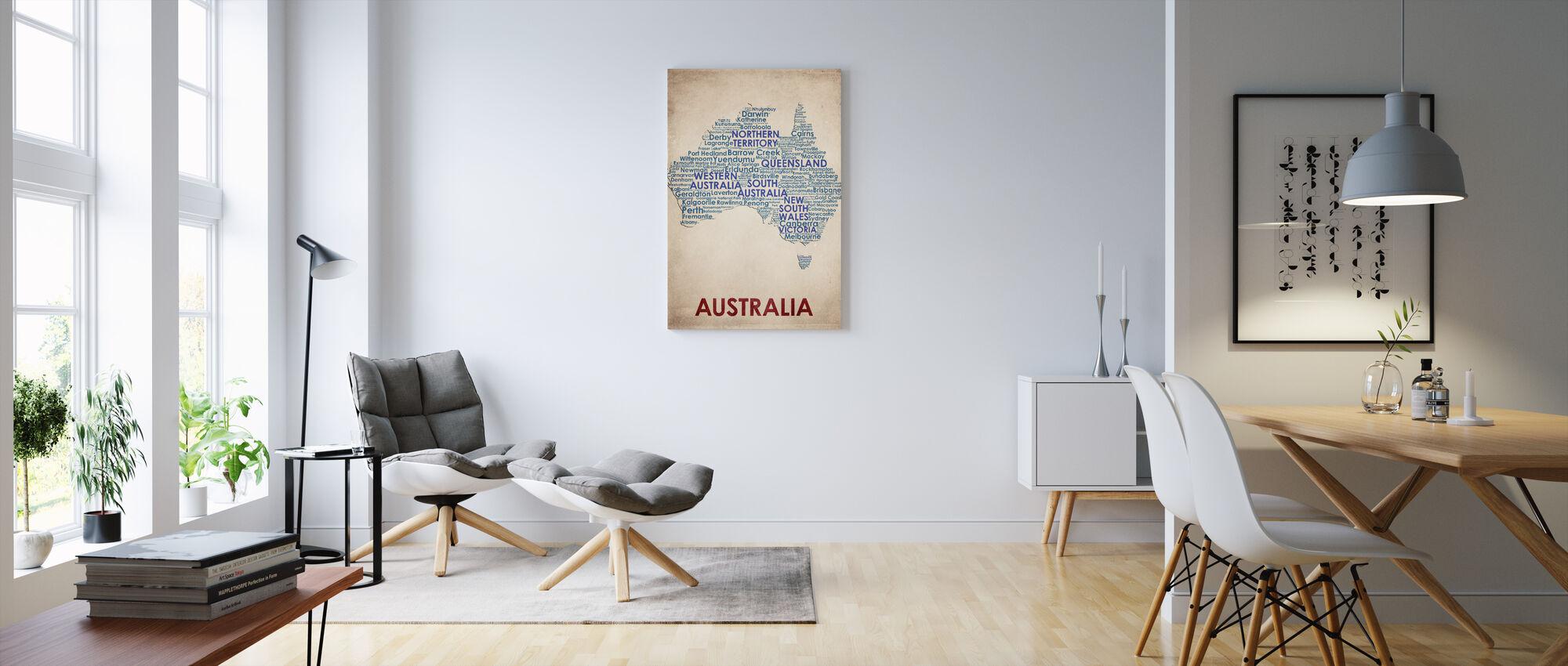 Australien Kort - Billede på lærred - Stue