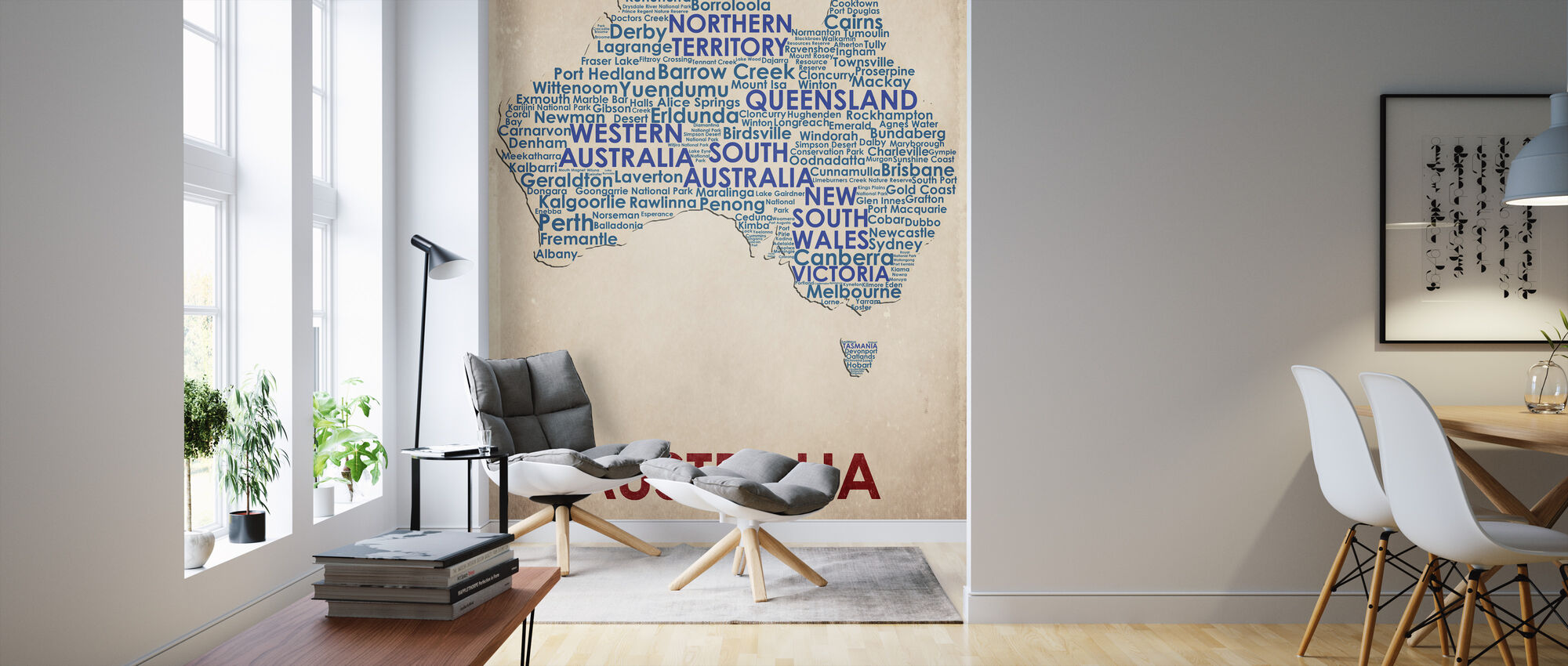 Australia Map - Wallpaper - Living Room