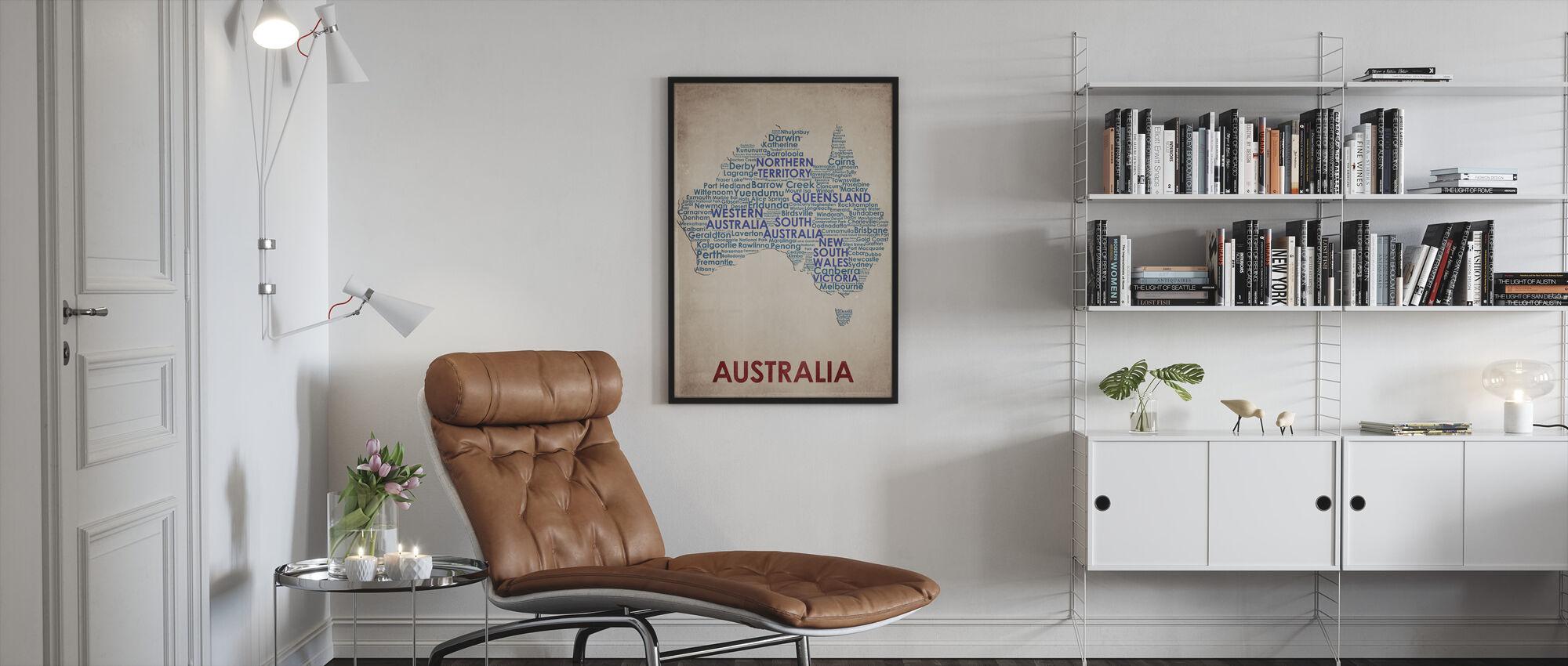 Australia Kartta - Kehystetty kuva - Olohuone