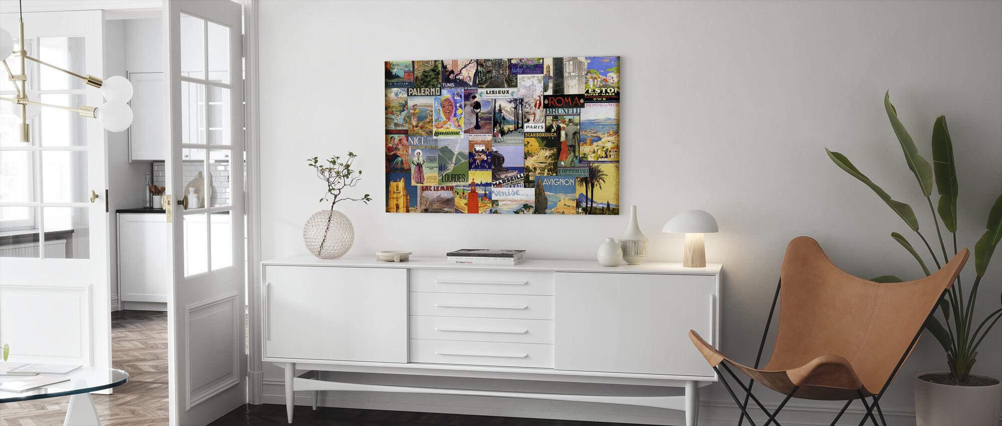 Collage van Europese steden - Canvas print - Woonkamer