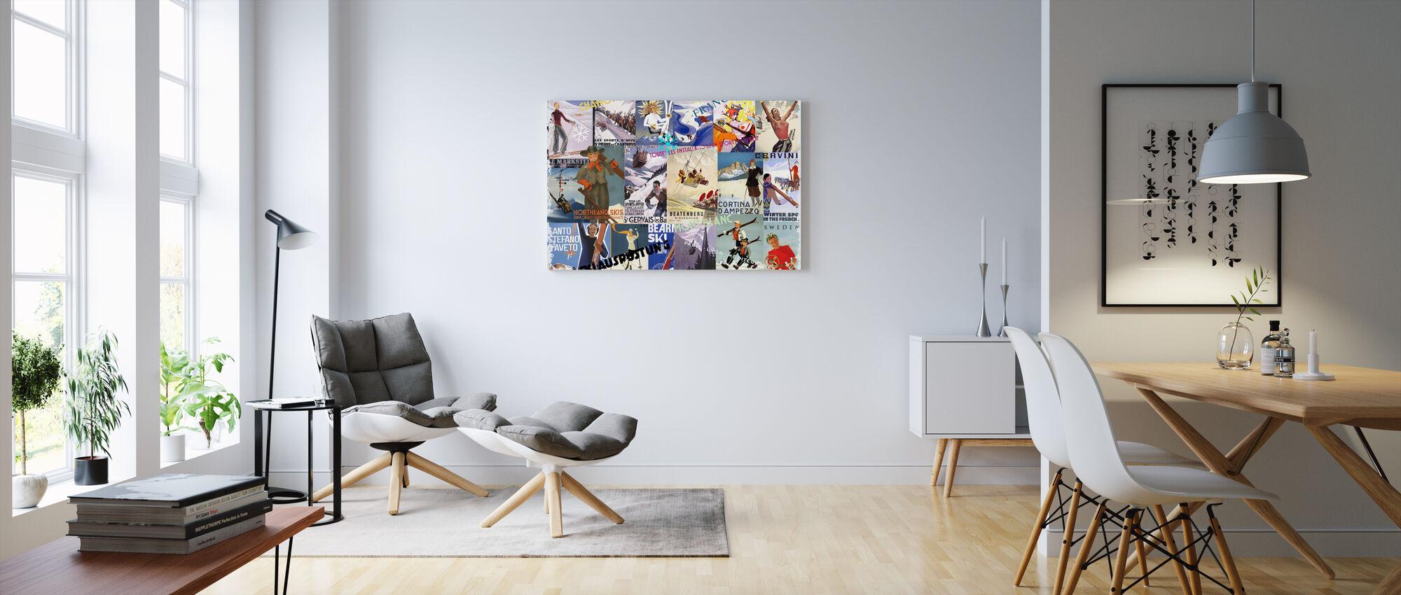 Ski Resorts Collage - Canvas print - Living Room