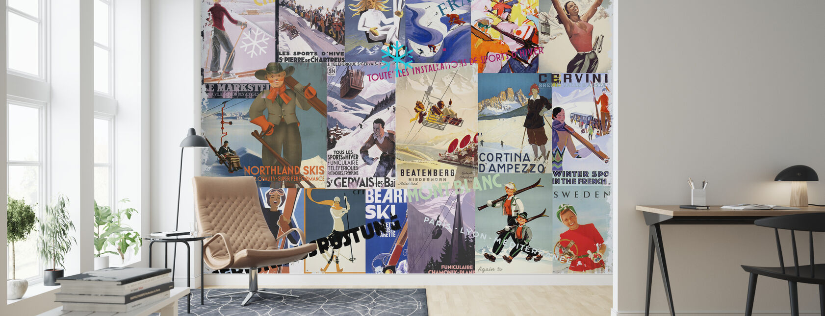 Ski Resorts Collage - Wallpaper - Living Room