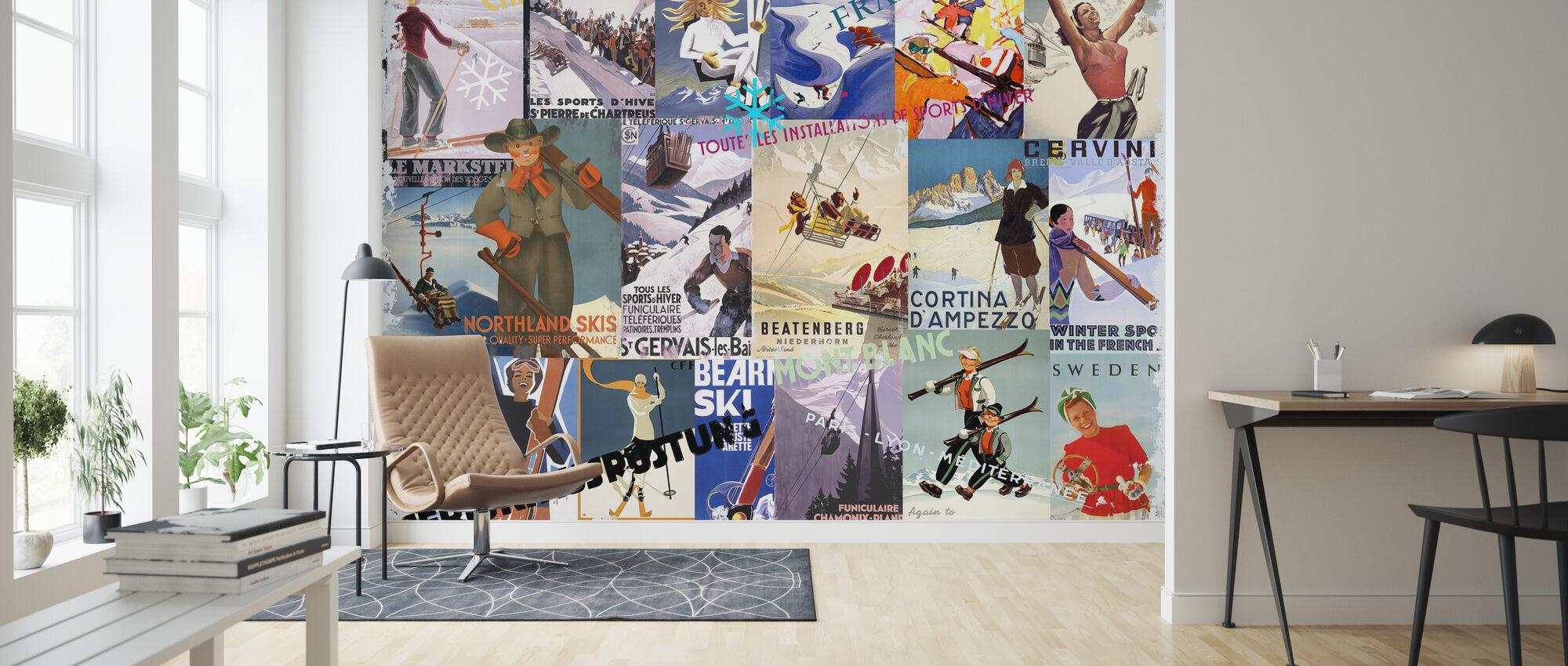 Skigebieden Collage - Behang - Woonkamer