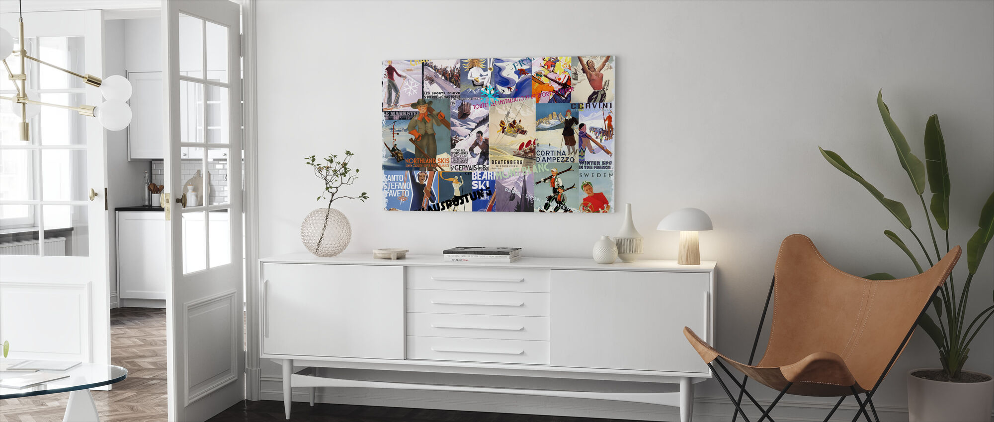 Ski Resorts Collage - Canvas print - Living Room