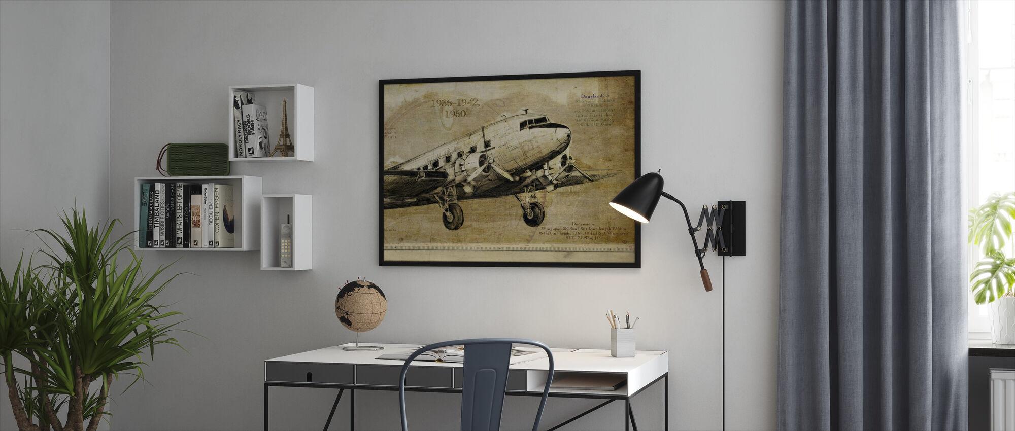 Vliegtuig - Ingelijste print - Kantoor