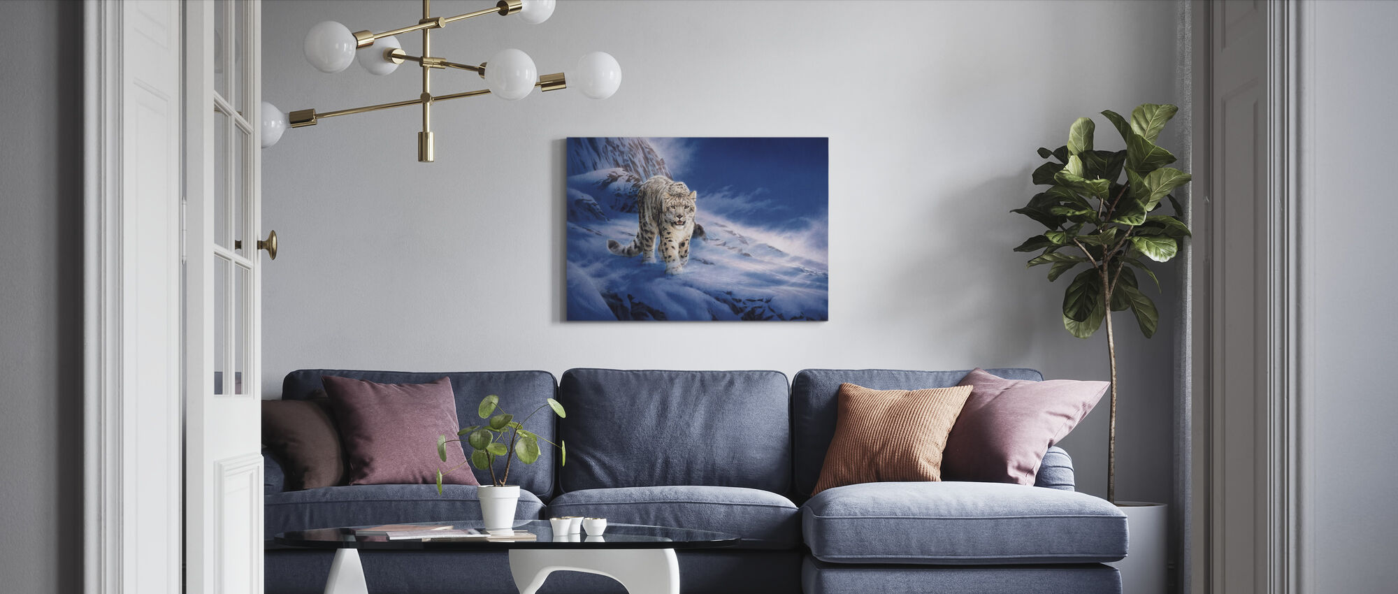 Sneeuwluipaard - Canvas print - Woonkamer
