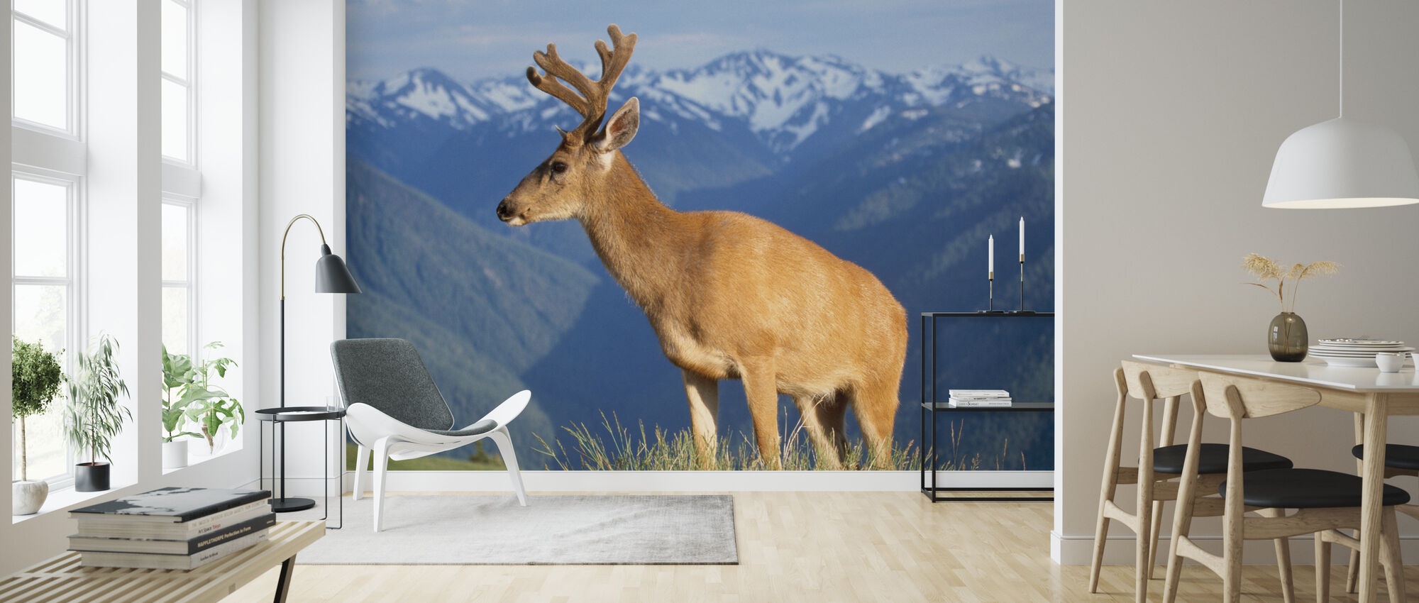 Reindeer and Mountains - Wallpaper - Living Room
