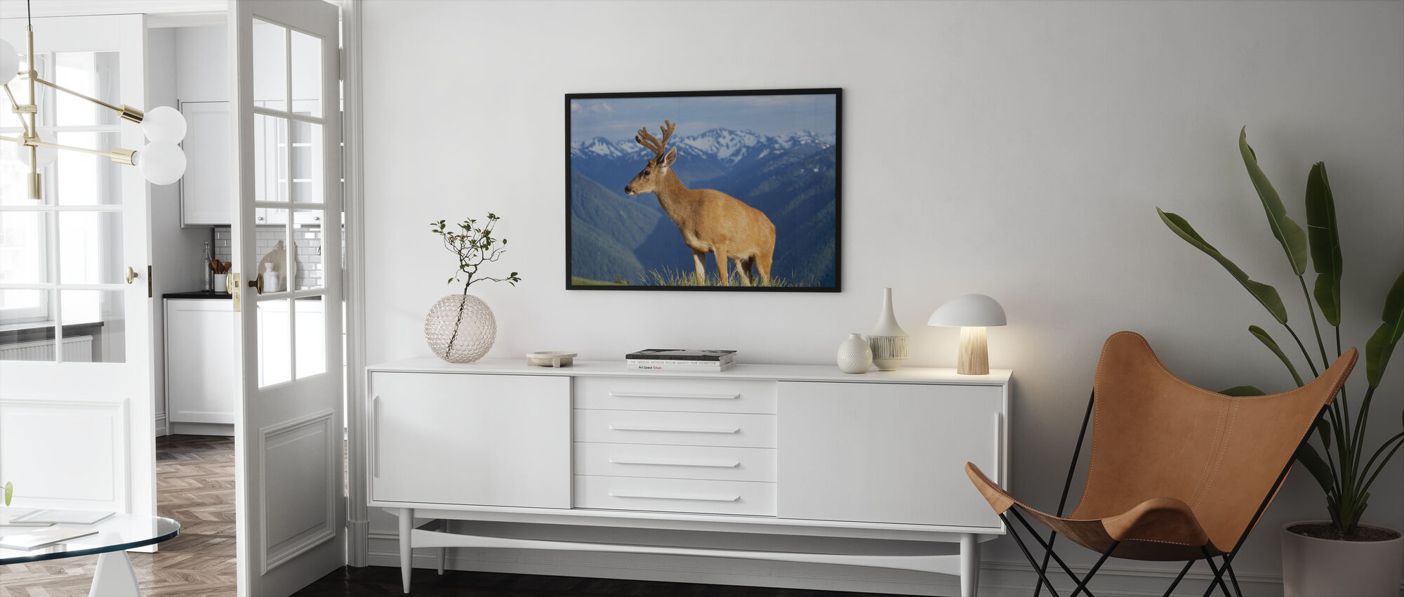 Reindeer and Mountains - Framed print - Living Room