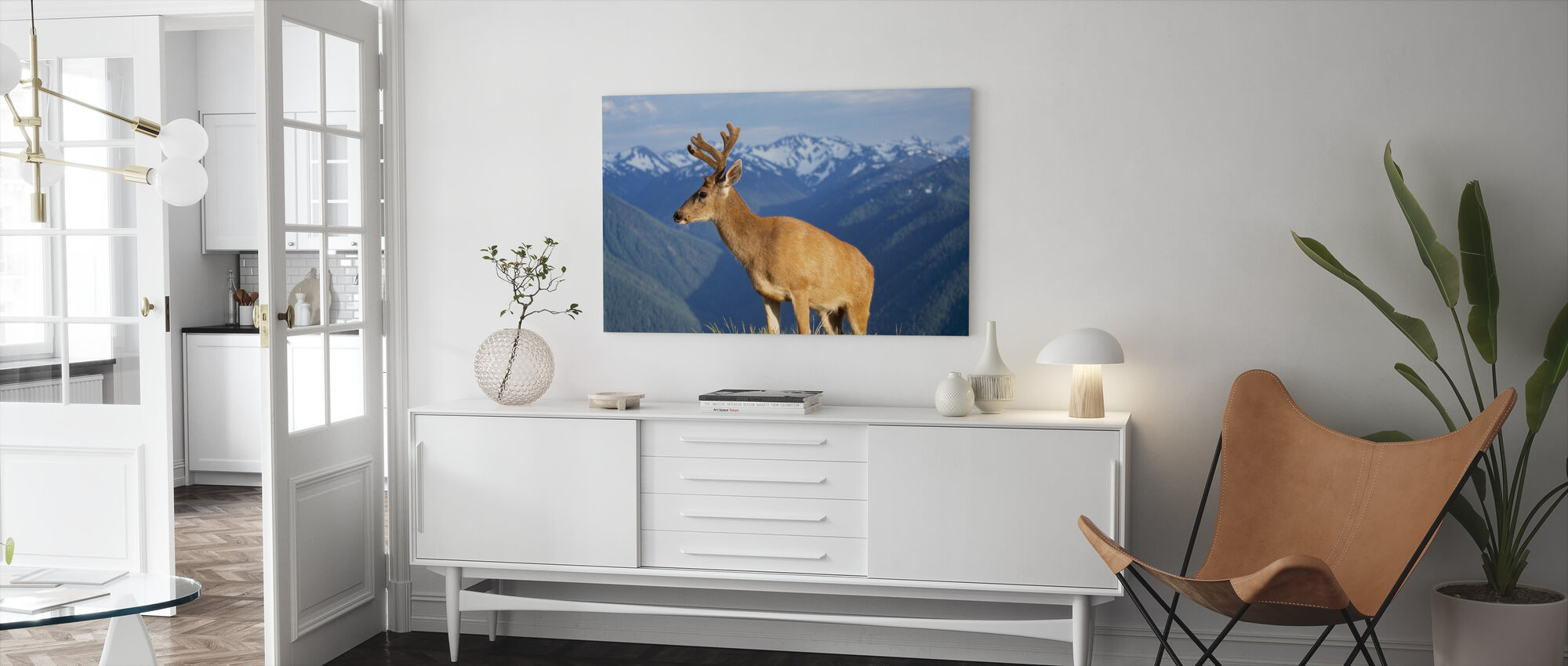 Reindeer and Mountains - Canvas print - Living Room