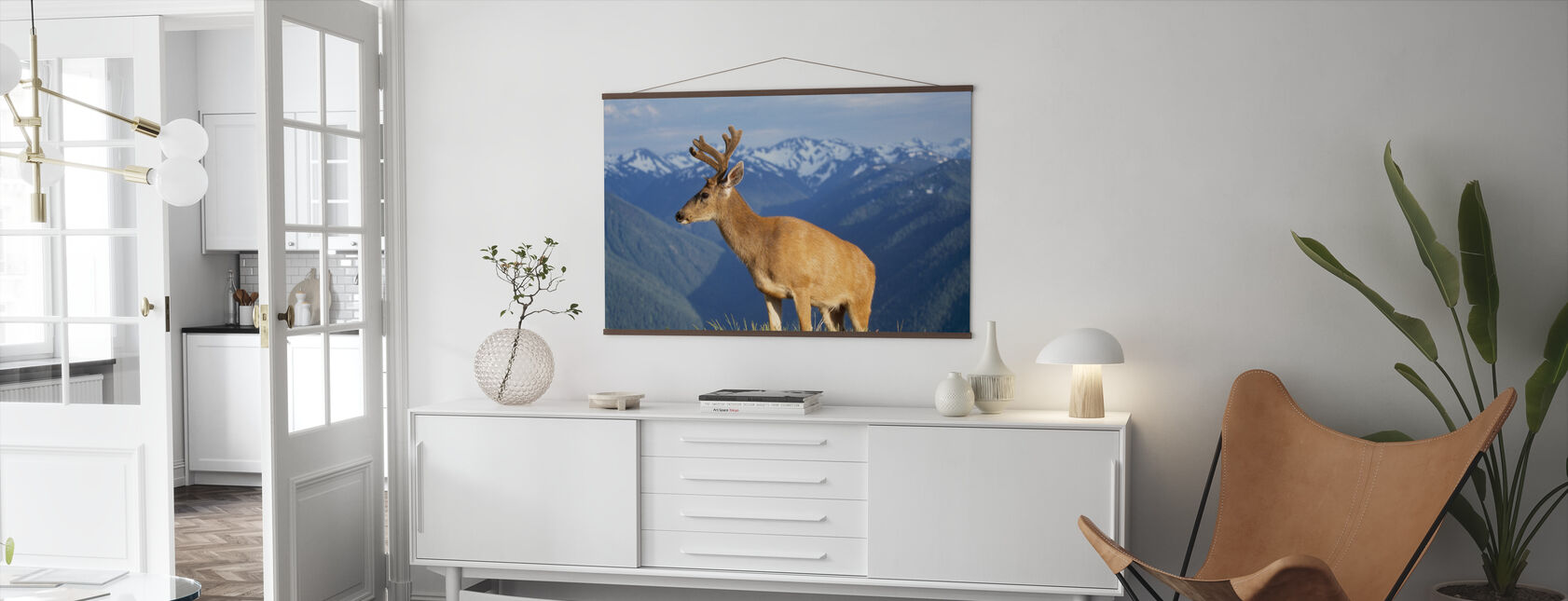 Reindeer and Mountains - Poster - Living Room