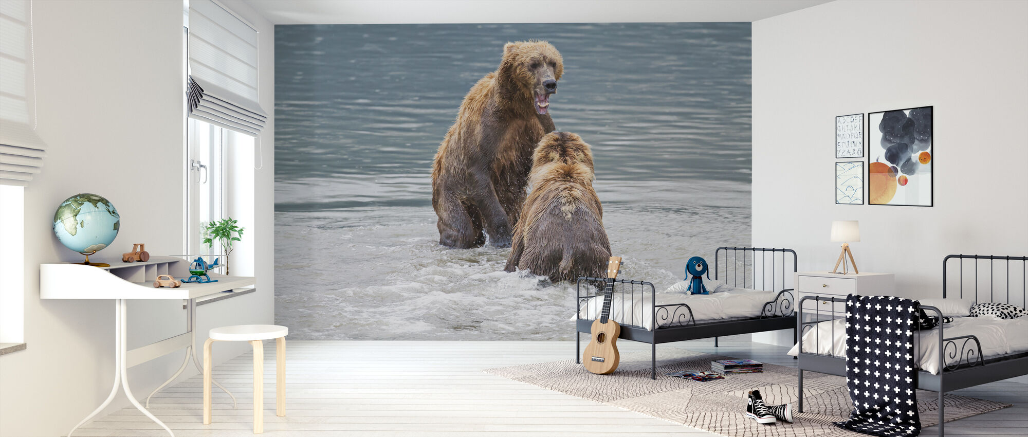Two Bears in the Lake - Wallpaper - Kids Room