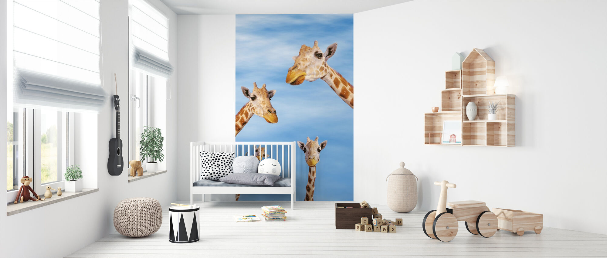 Giraffes & Blue Sky - Wallpaper - Nursery
