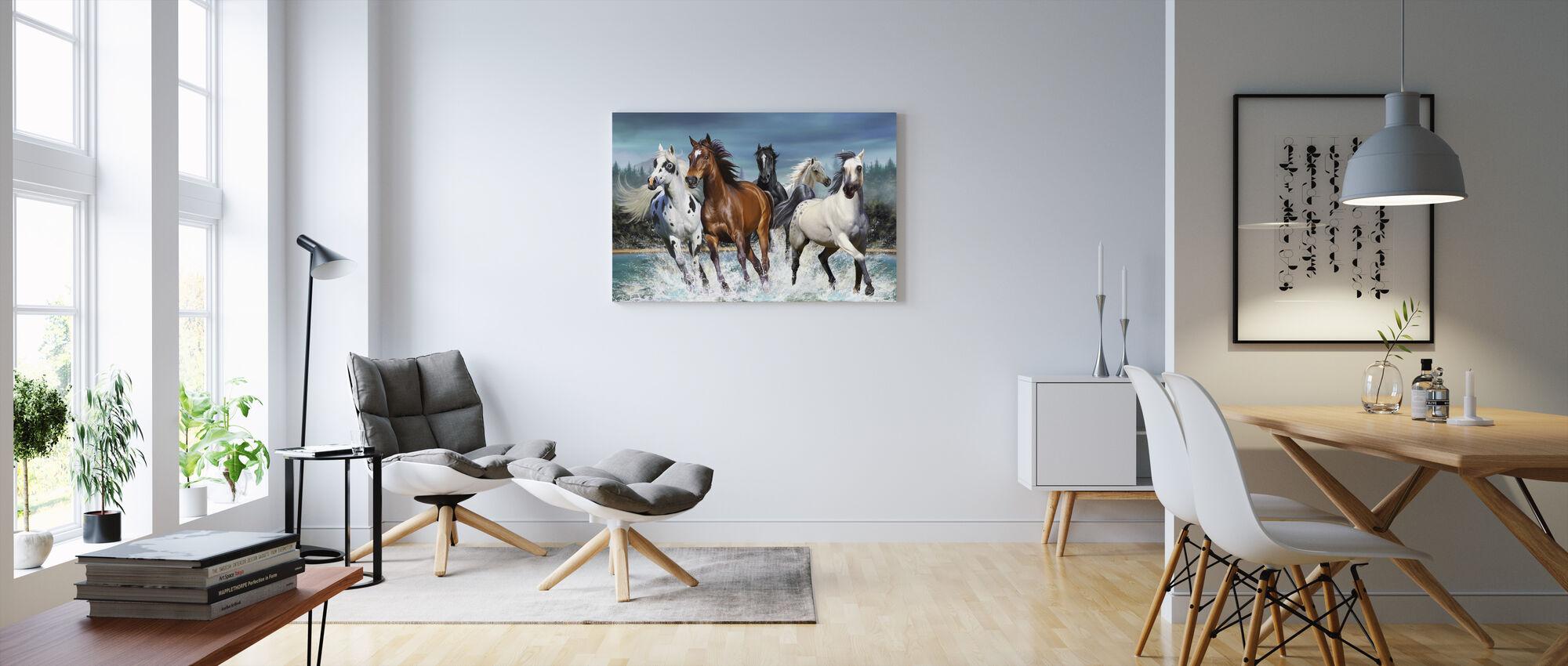 Running Paarden - Canvas print - Woonkamer