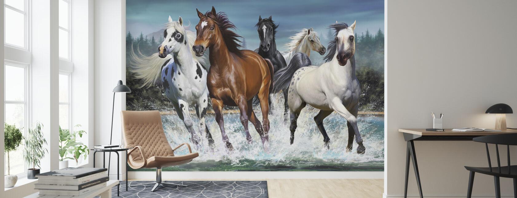 Løpende hester - Tapet - Stue