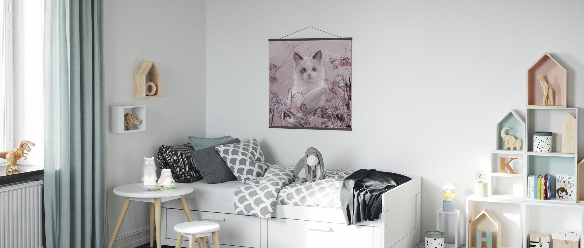 Lyserød kat - Plakat - Børneværelse