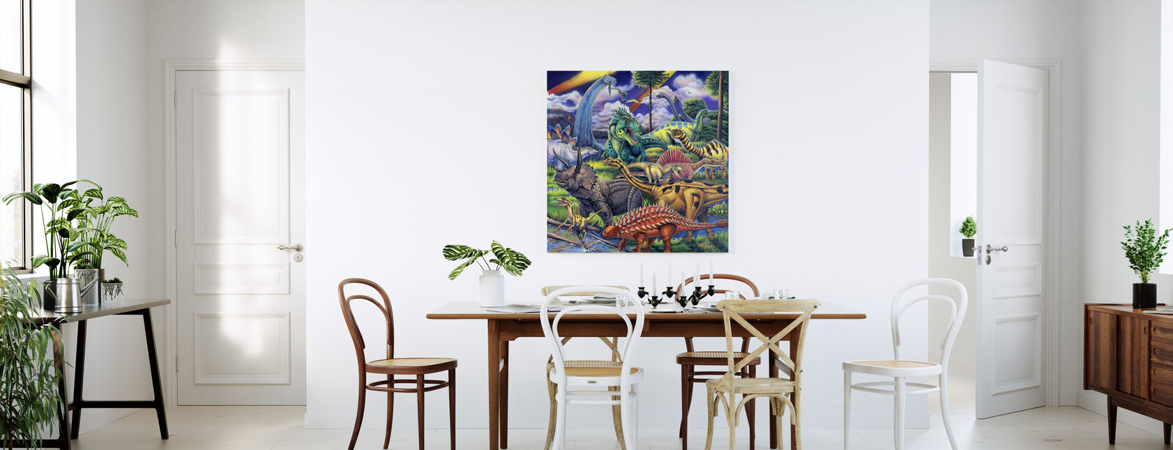 Dinosaur Venner - Billede på lærred - Køkken