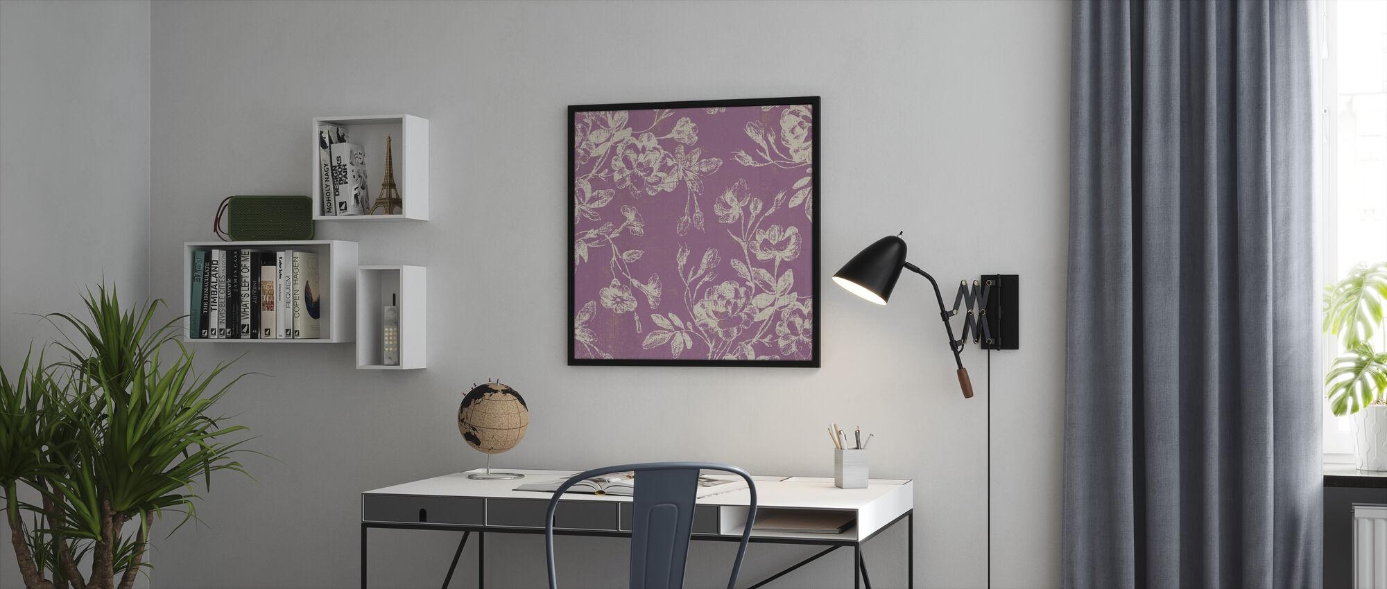 Rosa Blomster - Innrammet bilde - Kontor