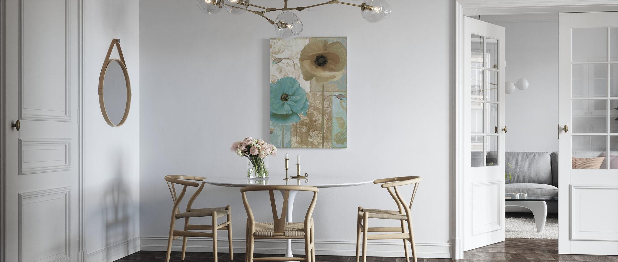 Blue & Beige Flowers - Canvas print - Kitchen