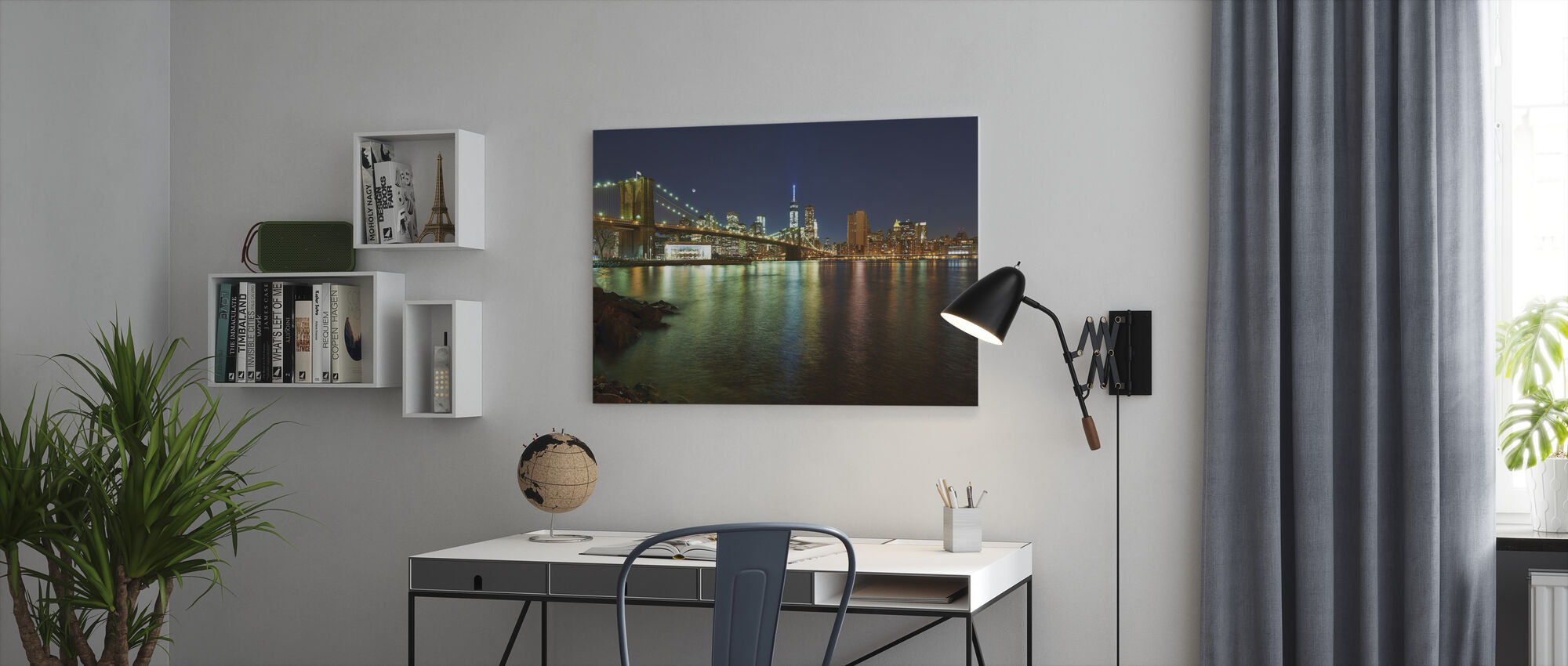 Nieuwe Freedom Tower en Brooklyn Bridge - Canvas print - Kantoor