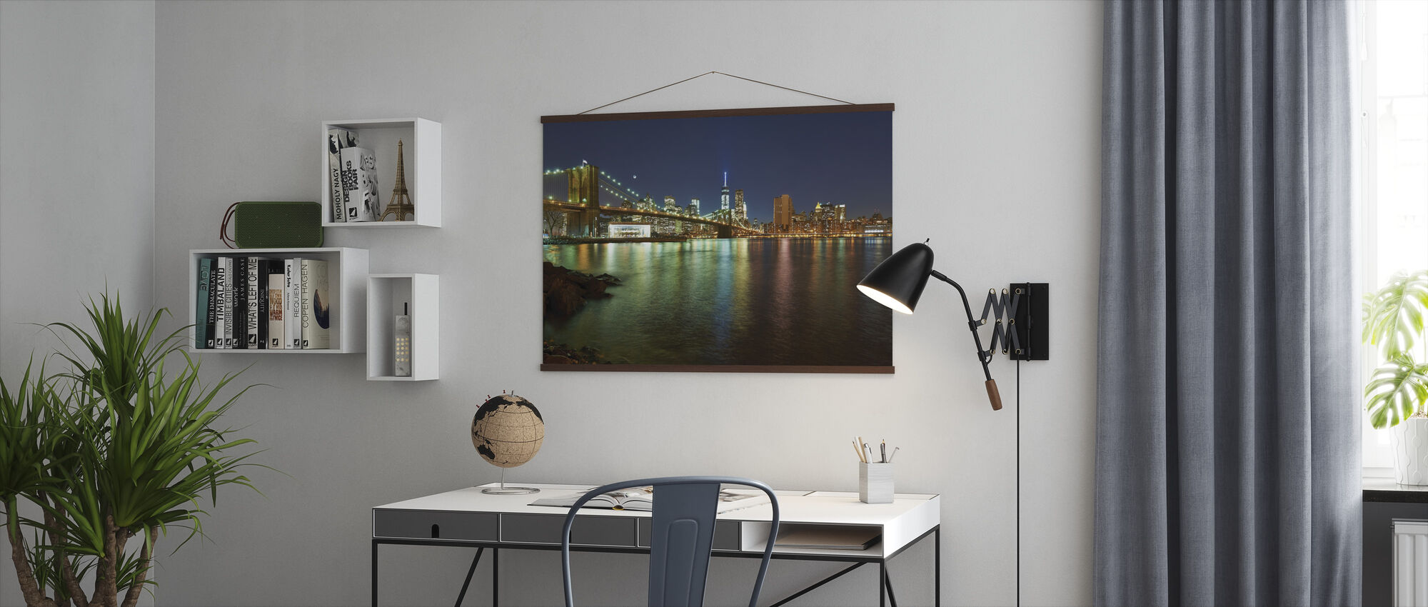 New Freedom Tower and Brooklyn Bridge - Poster - Office